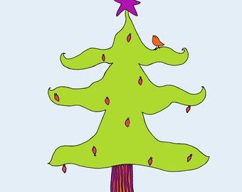 Christmas Tree Art Print, Children Kid's Room