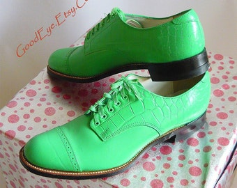Men's BOLD Green Shoes Leather Captoe Oxfords size 9 .5 D  Eu 42.5 UK 9 STACY Adams Lime Turquoise Never Worn