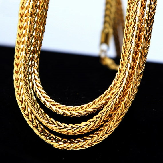 Men S 3 4mm Solid Franco Chain Foxtail Chain 24k Gold