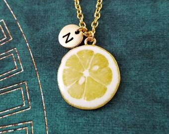 Lemon Necklace Lemon Jewelry Food Jewelry Fruit Slice Charm Necklace Lemon Pendant Necklace Initial Necklace Personalized Jewelry Gift