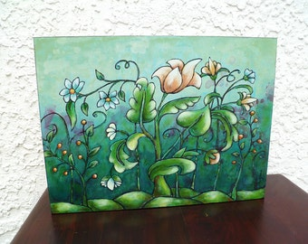 Original acrylic painting, cradled wood panel, home decor, collectible art, fantasy flowers, floral field, ready to hang, Floral fantasy IV