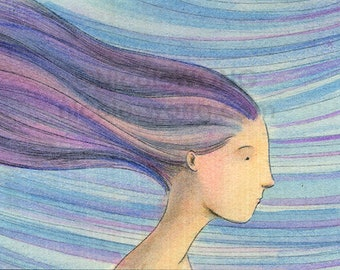 Original ACEO Drawing and Painting -- Windy