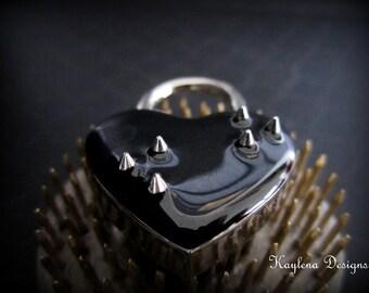 Heart Lock with Small Spikes, heart  lock, BDSM Lock, lock and key, locking Jewelry