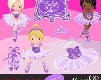 Ballerinas and Tutus Purple Glitter Clipart with cute characters, purple tutus, ballet shoes Graphics Instant Download Ballerina Graphics.