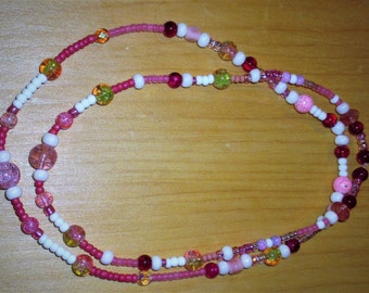 """18"""" ag doll jewelry, doll/child jewelry, cherry doll necklace/ childs necklace, doll pink and cherry jewelry,"""