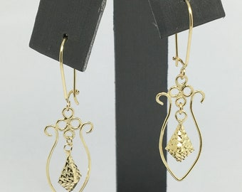 14K Yellow Gold Unique Vintage Style Danging Earrings