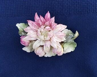 Royal Crown Derby Flower Brooch, made in England.