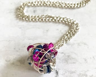 Pink Blue Sequins Silver Wire Wrapped Necklace