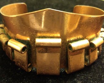 Vintage Mid Century Designer Signed Renoir Copper Abstract Curl Cuff Bracelet