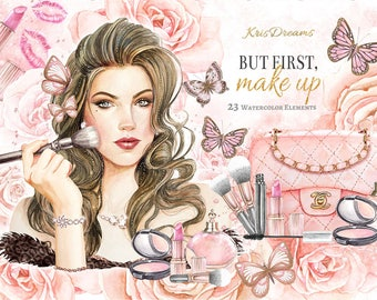 Fashion Clipart, Watercolor Makeup, Cosmetic Clip art, Beauty Make Up, Butterfly, Roses, Glitter, Woman Fashion Illustration, Pink Peach