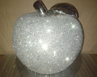 Silver glittered ceramic apple