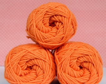 Kacenka - soft cotton/acrylic yarn for crochet and knitting, Orange color, No. 2254, 1 ball/50 g, Producer NCT