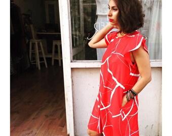 Red ruffles short dress, Red dress, Ruffles short dress, Ruffles sleeves dress, Red party dress, Red , Short dress