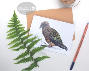 Kea parrot folded card from the New Zealand native birds series by Emilie Geant, from original watercolor painting