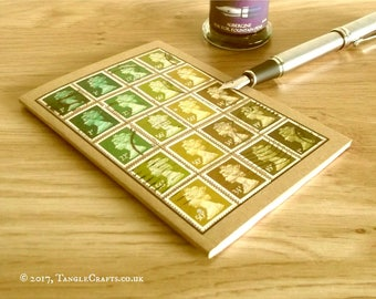 Olive Mustard Green Retro Notebook Journal, Upcycled Office Gift
