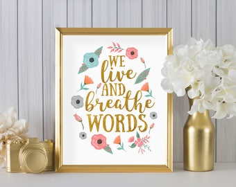 We Live And Breathe Words By Cassandra Clare DIGITAL PRINT In White   Home  Decor,