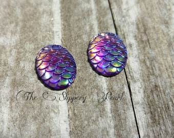 Mermaid Scale Cabochons 18x13 Purple Mermaid Scales Oval Cabochons Dragon Scale Flat Back Embellishments Flatbacks 6 pieces