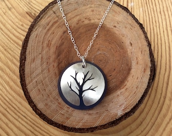 Sterling Silver Tree of Life Necklace with Blue Matte Glass