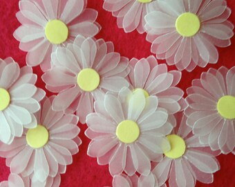 """Handmade paper flowers for cards and scrapbooking, craft supply, translucent 3-layer daisies, pack of 50, 1"""" or 2"""" diameter, embellishments"""