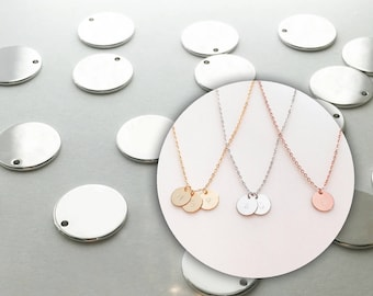 10 Silver Plated Coin Disc Circle Pendant Necklace 10PC-S