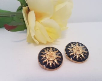 1980s Vintage Black and Gold Sun Clip On Earrings - Tribal - Round - Cute