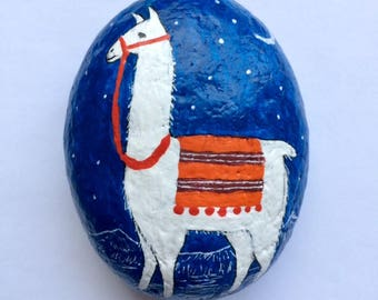 Llama painted rock paperweight