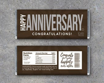 HAPPY ANNIVERSARY Candy Bar Wrappers – Printable Instant Download – Hershey's Anniversary Card – Use as an anniversary gift or gift tag!