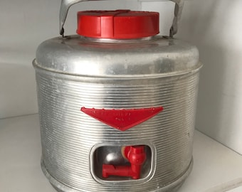 Vintage Aluminum and Red 1950s Thermos beverage Cooler Jug