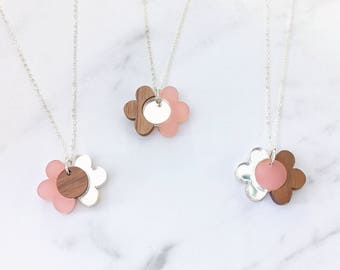 Flower wooden necklace, pink perspex and silver mirror