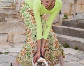 Vintage Long Assymetrical Skirt, Flower Needlecraft, Light Green, Brown, White, Cream