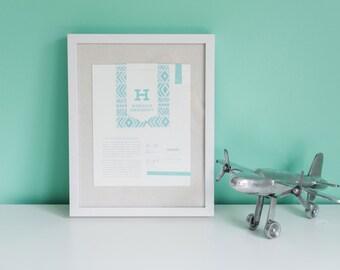Nursery Art, Kids decor, Modern Nursery Decor, Nursery Print, Custom print for baby, Hudson, Baby Wall Art, Baby gift