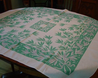 """Vintage Tablecloth Green and White Cotton, 44 x 51"""" Sweet"""