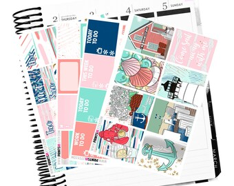 Sail Away MINI Kit, Planner Stickers, 4 pages