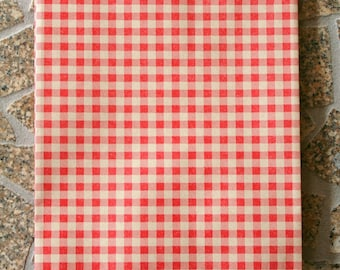 Set of 25 - Red Gingham Flat Paper Merchandise Bags - 6.25 x 9.25 Inches - Gifts, Packaging, Retail