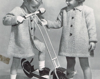 Vintage Knitting Pattern - Child's Coat and Matching Hat - PDf downloadable - 40's retro 1940's caps