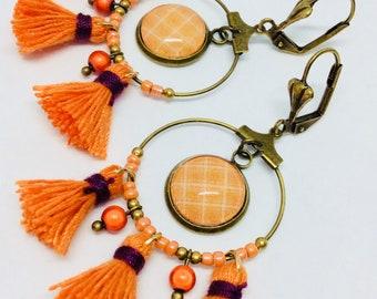 Orange gingham fabric hoop earrings