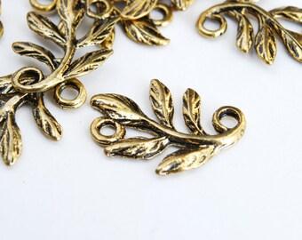 Bronze Leaf Connectors, Branch, Antique Brass, 15 mm - 20 pieces