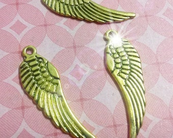 Angel Wing Charms Wing Pendants Double Sided Antiqued Gold Wing Charms Angel Wings 1 Inch Wings 30mm 50 pieces Bulk Charms Wholesale