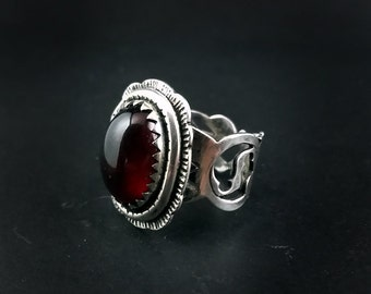 Gothic Style Black Cherry Red Hessonite Garnet Ring Size 7.5