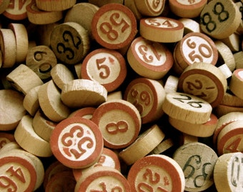 50 Antique Vintage Wooden Game Markers and Lotto and Bingo Numbers