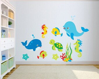 Sea Creature Wall Decal - Kids Wall Decal - Fish Wall Decal - Under The Sea Wall Decal - Kids Room Decal -  Wall Decal