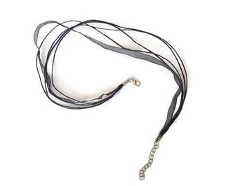 Black organza and cotton cords necklaces