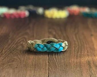 Essential Oil Diffuser Bracelet, Throat Chakra Bracelet, Braided Leather Bracelet, Spiritual Gift, Gift for Yoga Lover, Stackable