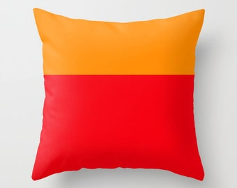 Orange and Red Pillow Cover /  Colorblock Pillow Cover /  Decorative Pillow Cover  / Modern Pillow Cover / Colorblocking Pillow Cover