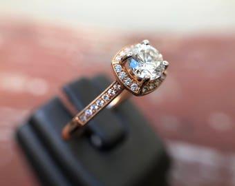 0.66ct Round Diamond and Cushion Halo Engagement Ring, 14k Rose Gold, 0.81ctw, Milgrain EGL ( 101218 BHXX)