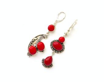 Red coral earrings Mismatched earrings Chandelier earrings Asymmetric earrings Prom earrings Gypsy earrings Boho earrings Shoulder duster