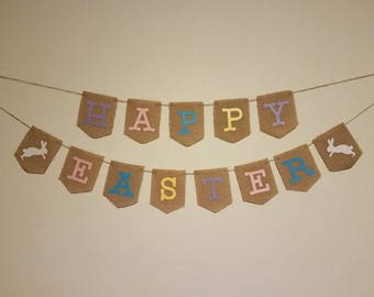 Happy Easter Banner, Happy Easter Bunting, Easter Decorations, Rustic Easter Decor, Easter Banner