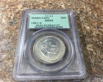 1951-S MS63 Washington Carver commemerative half dollar