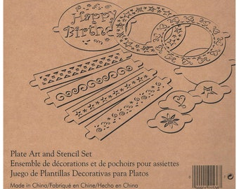 Pampered Chef PLATE ART & STENCIL Set . brand new . 11 designs. decorate cakes, cookies, desserts, food, platters, plates