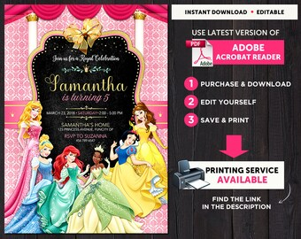 Disney Princess Invitation Template, Disney Princess Birthday Invitation Instant Download, Disney Princess Party, Girl Birthday Invitation